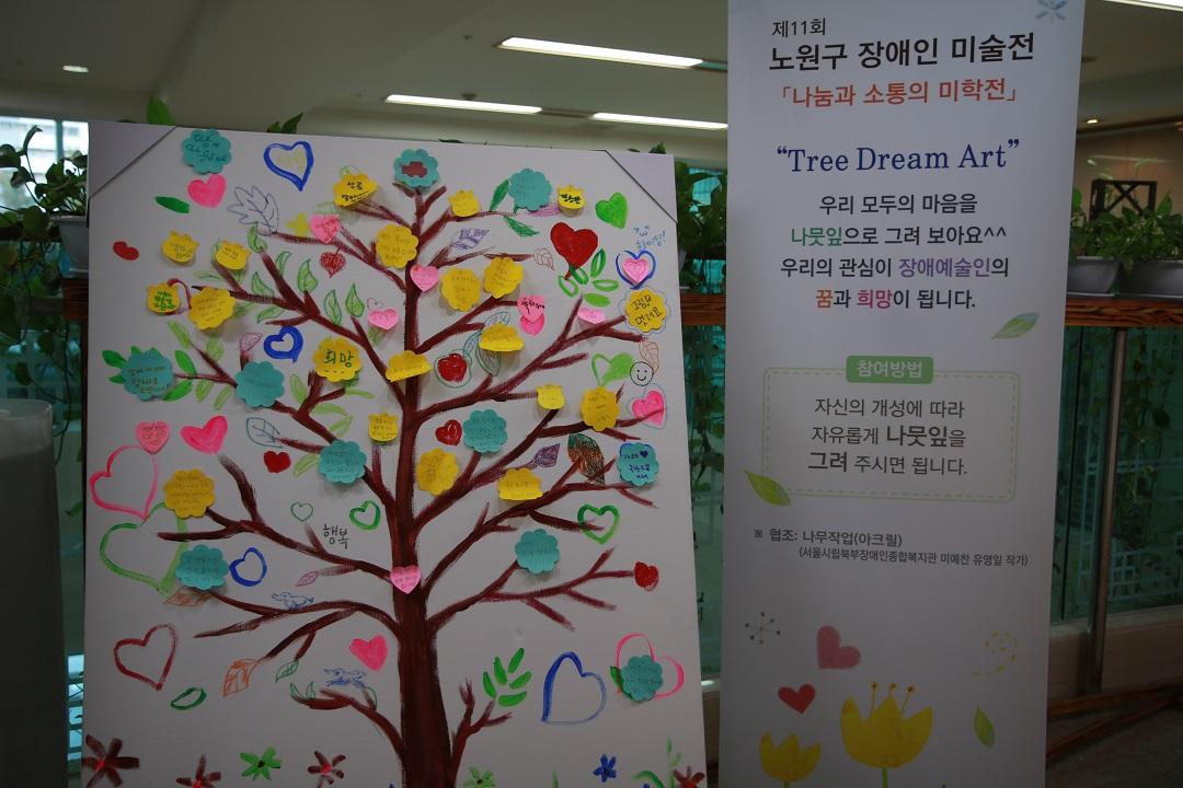 참여자분들이 그린 메세지와 나무