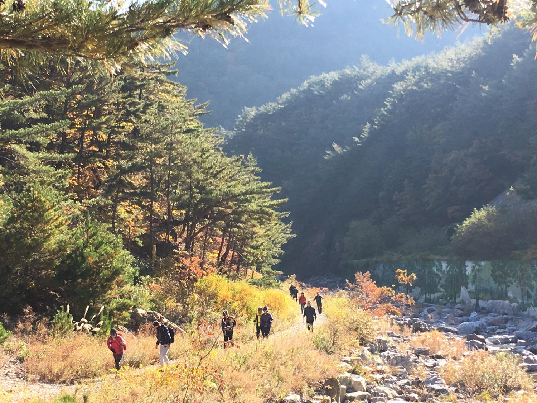 트레킹 하는 모습과 어울리는 가을산의 풍경