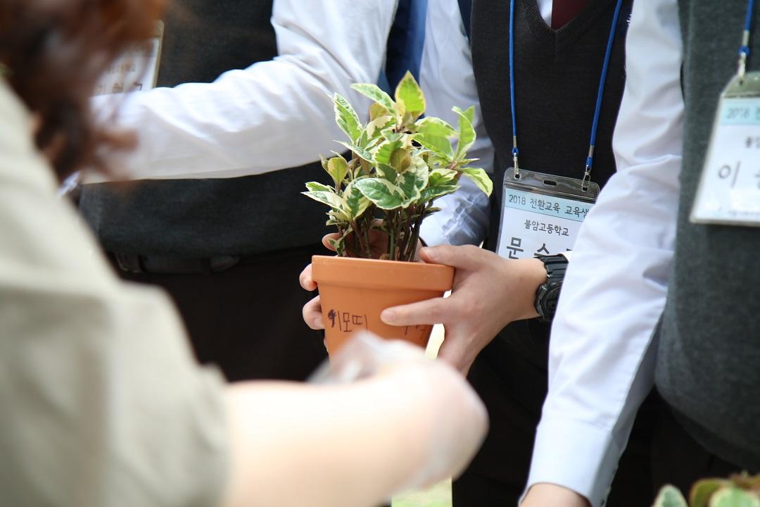 화분을 들고있는 학생 손 사진