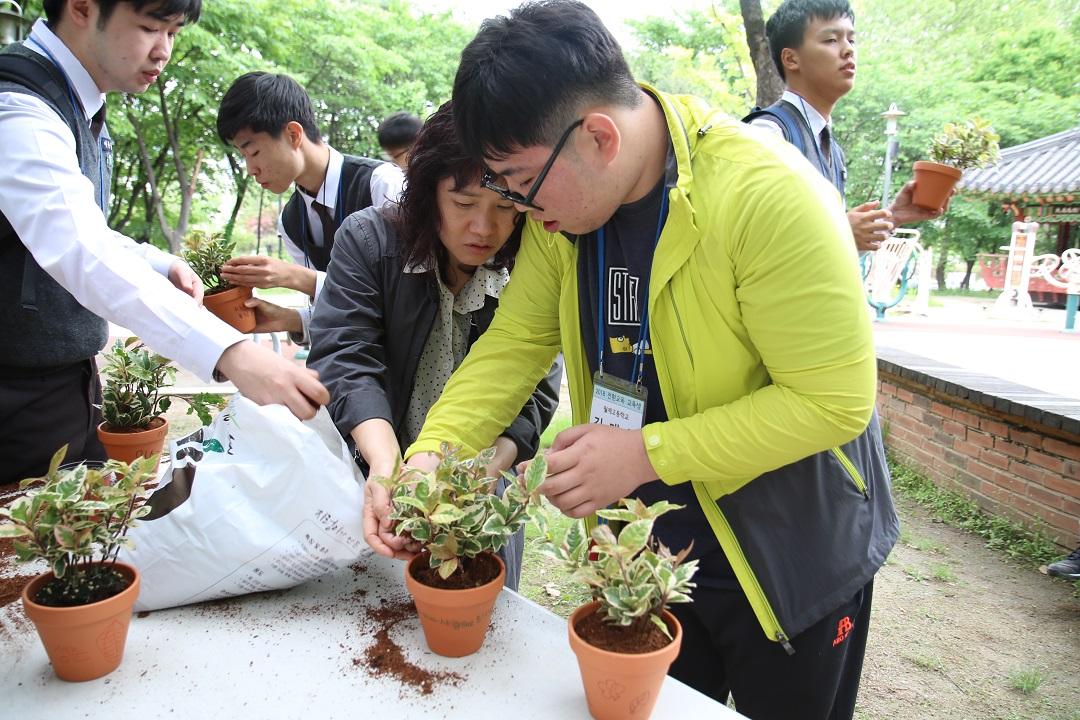 화분에 식물을 심고있는 사진